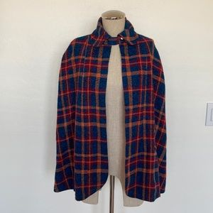 Vintage tweed multi color plaid cape
